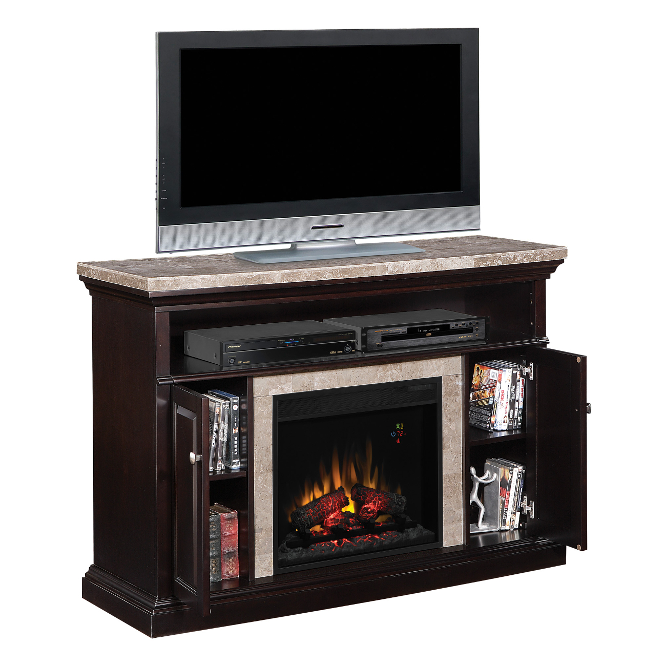 Classic Flame Brighton 23MM1424-X445 Coffee Black TV Media Console 23EF031GRP Electric Fireplace Insert