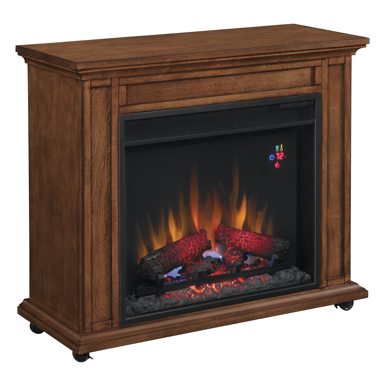 duraflame oak infrared rolling electric fireplace