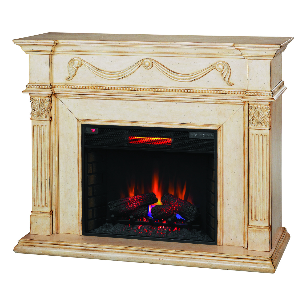 Classic Flame Gossamer Antique Ivory Finish Wall Mantel Electric Fireplace 28WM184-T408 28II300GRA Infrared Electric Fireplace Insert