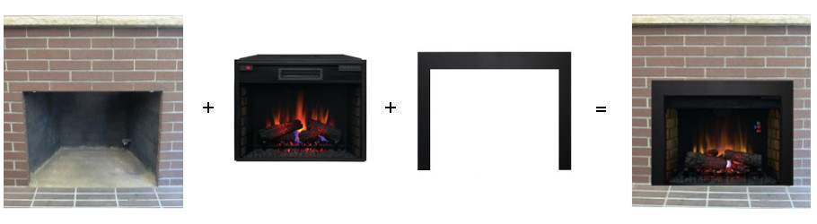Convert your existing fireplace to electric with an electric fireplace insert and custom trim kit.