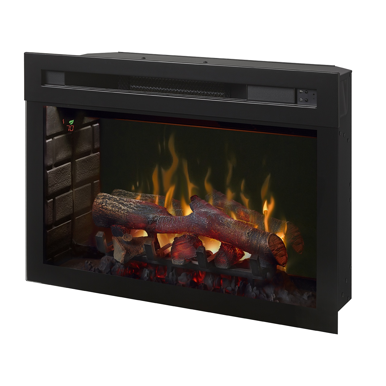 dimplex 25 inch electric fireplace insert with logs and flames turned on
