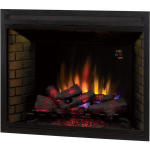 classic flame 39 inch electric fireplace insert with glowing logs and LED flames