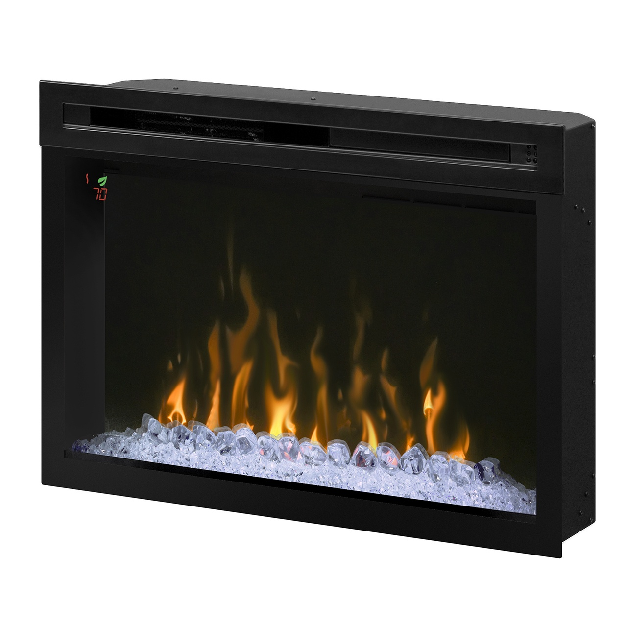 dimplex 33 inch contemporary electric fireplace with acrylic ice embers and orange flames