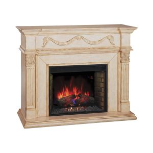 classic flame antique ivory 55 inch electric fireplace wall mantel
