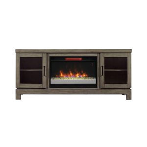 gray media console with cabinet doors and modern electric fireplace insert