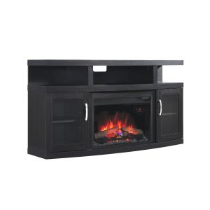 embossing oak media center with cabinet doors and traditional logs electric fireplace insert