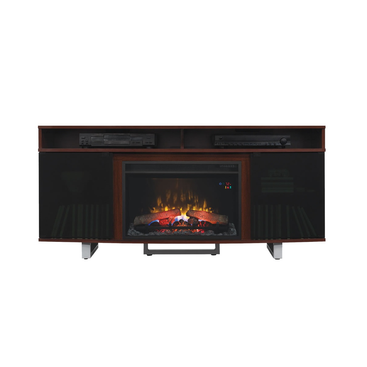 high gloss cherry finish media console with traditional logs electric fireplace insert