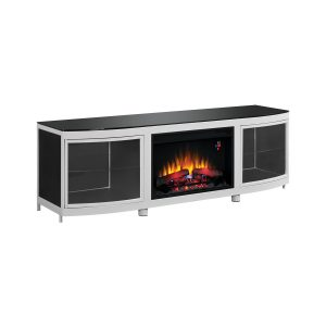 silver media mantel with cabinets and traditional logs electric fireplace insert