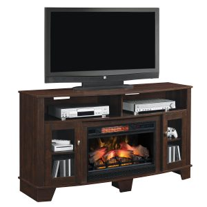 cherry wood media console with cabinet doors and traditional logs infrared electric fireplace insert
