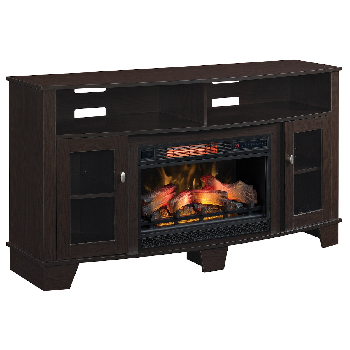espresso wood media cabinet with doors and traditional logs infrared electric fireplace insert