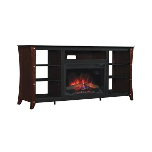 midnight cherry media console with open shelves and traditional logs electric fireplace insert
