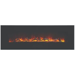 amantii 60 inch wall mount or built in flush mount electric fireplace with logs and orange flame effects
