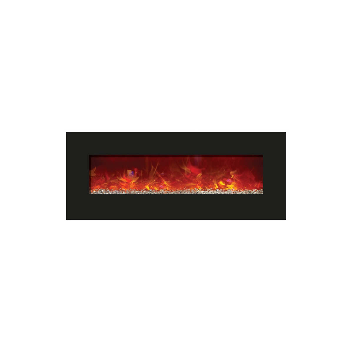 amantii 48 inch contemporary electric fireplace wall mount or insert black glass surround