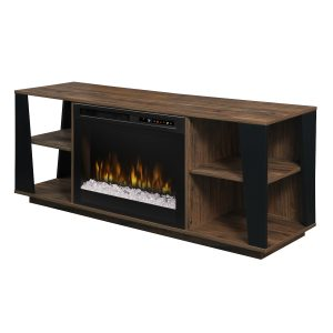 dimplex contemporary electric fireplace ceramic heater inserted in a modern media console