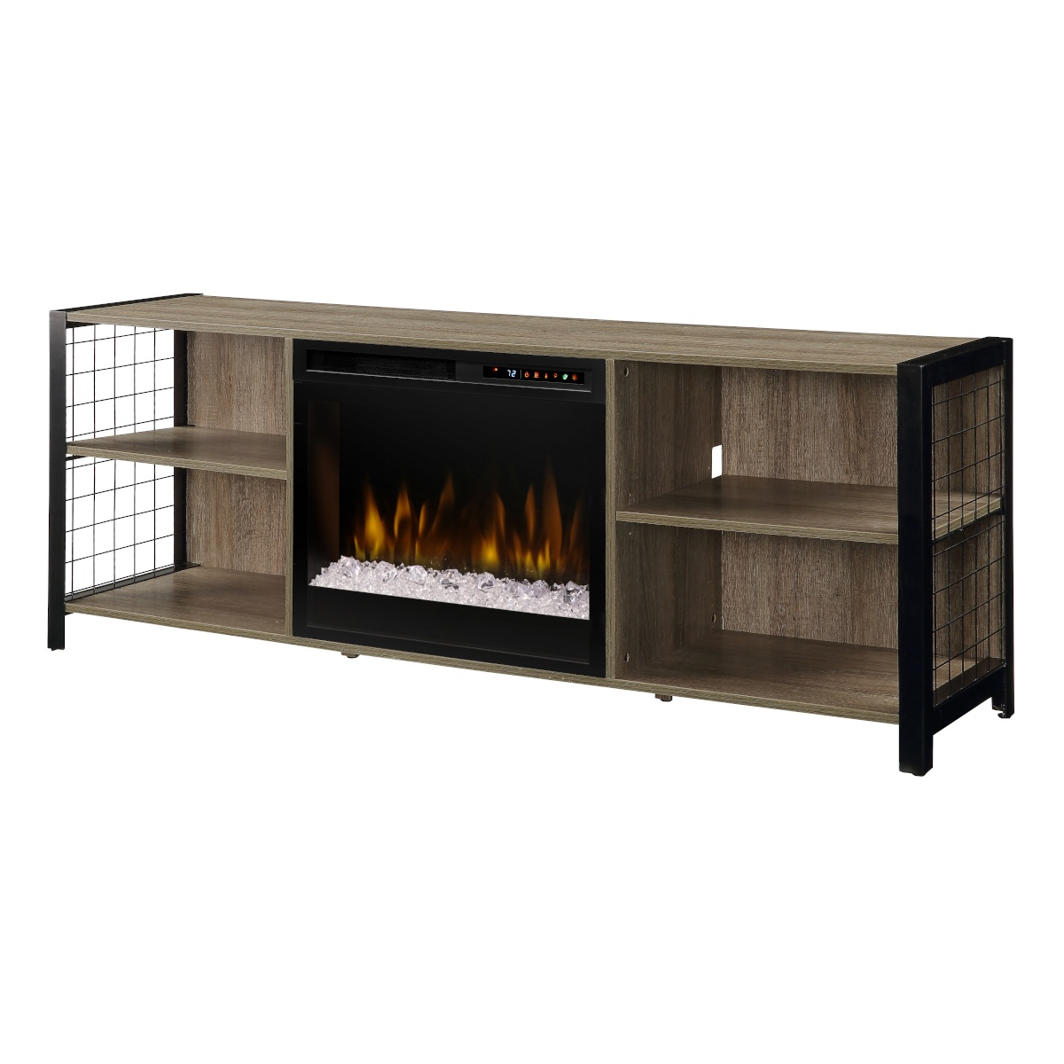 dimplex contemporary electric fireplace with glass embers inserted in a modern media console