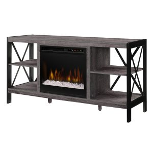 dimplex ramona media console with contemporary electric fireplace insert with glass embers