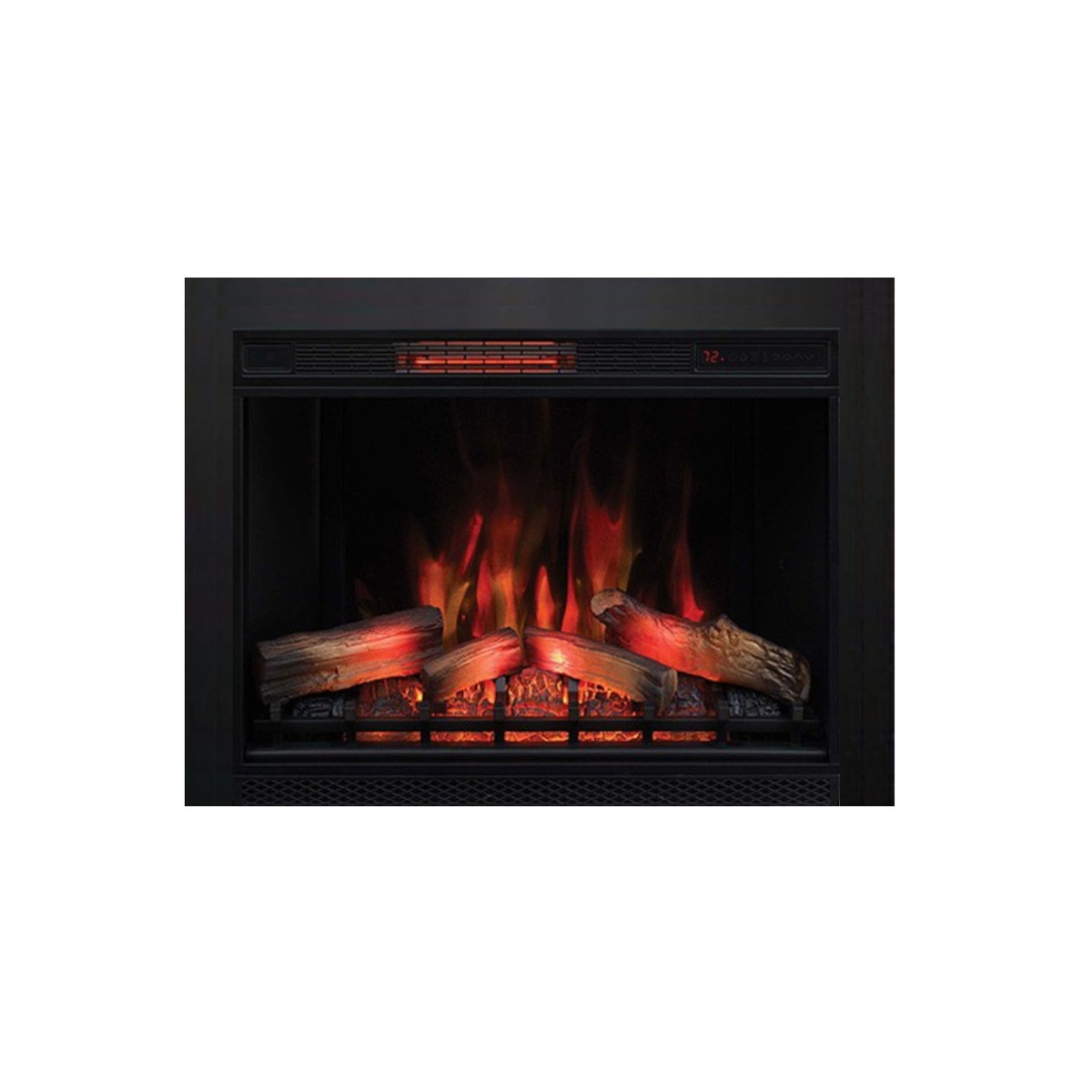 infrared electric fireplace insert with remove-able black 3-sided trim