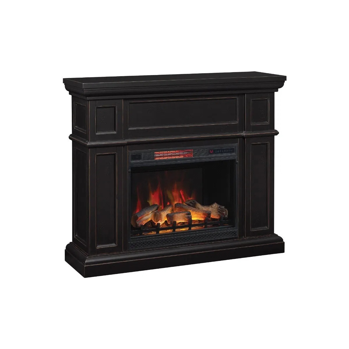 classic flame black brown traditional wall mantel with plug in electric fireplace
