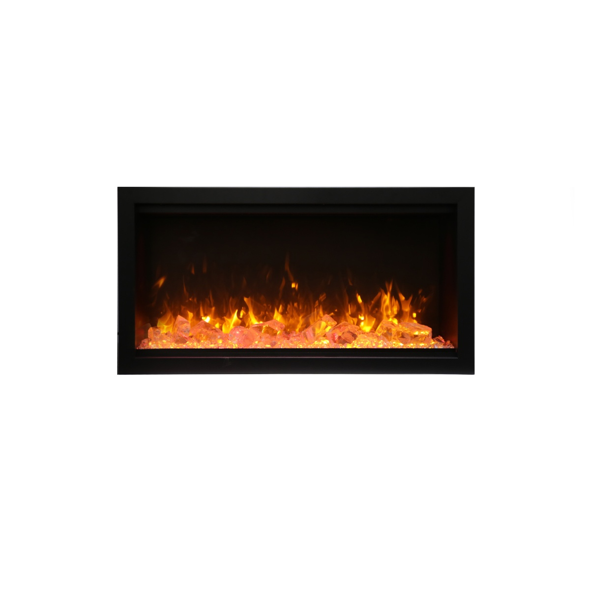 amantii SYM-34-XT extra tall contemporary electric fireplace wall insert with glass embers and orange flames