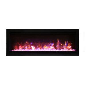 amantii SYM-42-B contemporary electric fireplace wall insert with glass embers and pink flames
