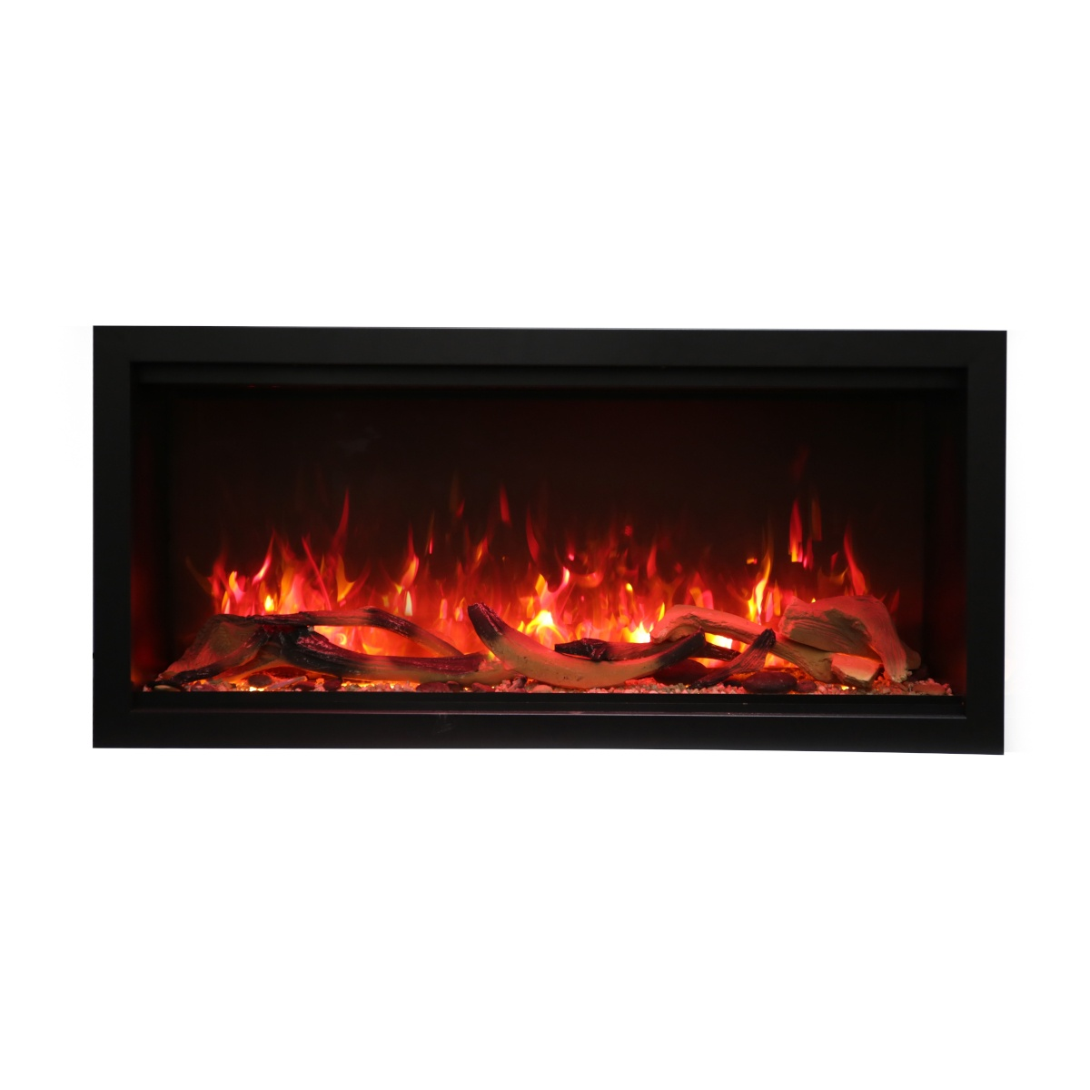 amantii SYM-42-XT extra tall contemporary electric fireplace insert with logs and red flames