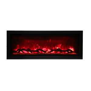amantii SYM-42 contemporary electric fireplace with logs and red flames
