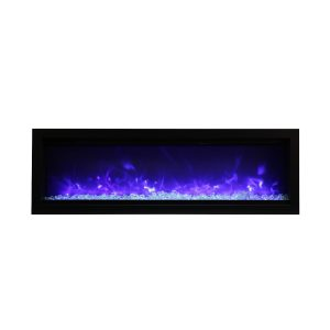 amantii SYM-50-B contemporary electric fireplace wall insert with glass embers and blue flames