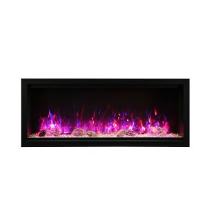 amantii SYM-50-XT extra tall contemporary electric fireplace with glass embers and pink flames
