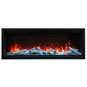 amantii SYM-60-XT-extra tall 60 inch electric fireplace wall insert with birch logs and red flames