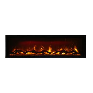 amantii SYM-60 electric fireplace insert with logs and orange flames