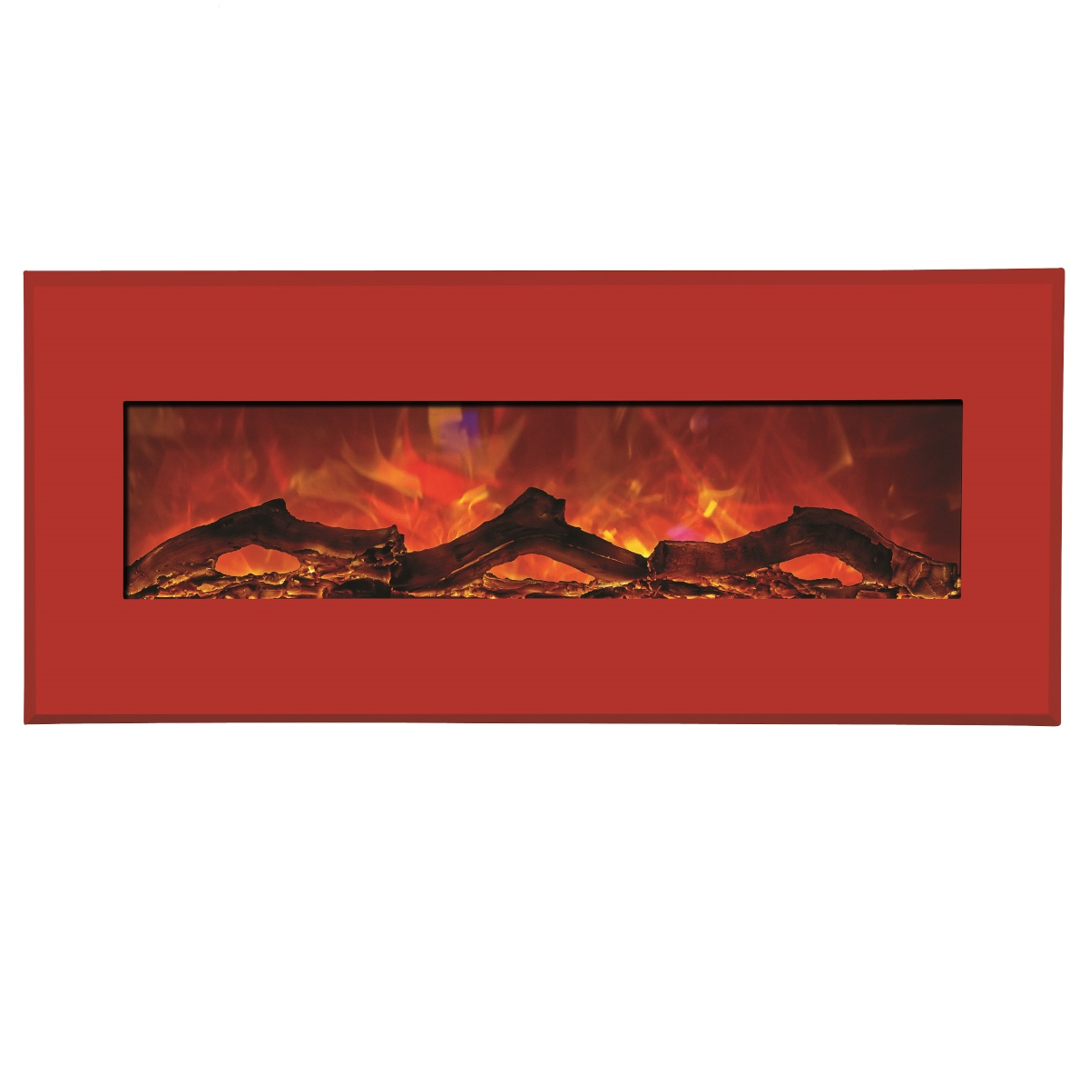 amantii contemporary electric fireplace wall insert or wall mount with bright red surround final sale no returns