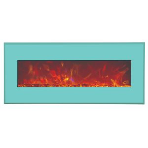 amantii contemporary electric fireplace wall insert with teal blue surround final sale no returns