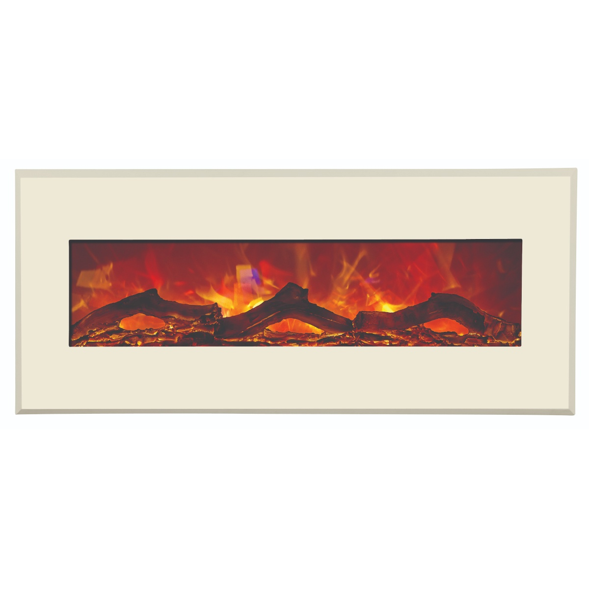 amantii contemporary electric fireplace with white surround and logs final sale no returns
