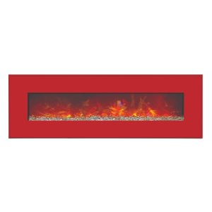 "amantii contemporary 58"" wide electric fireplace with red surround and glass embers final sale no returns"