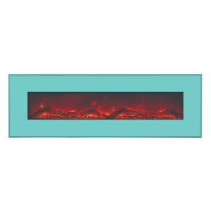 amantii contemporary electric fireplace with teal blue surround and logs final sale no returns