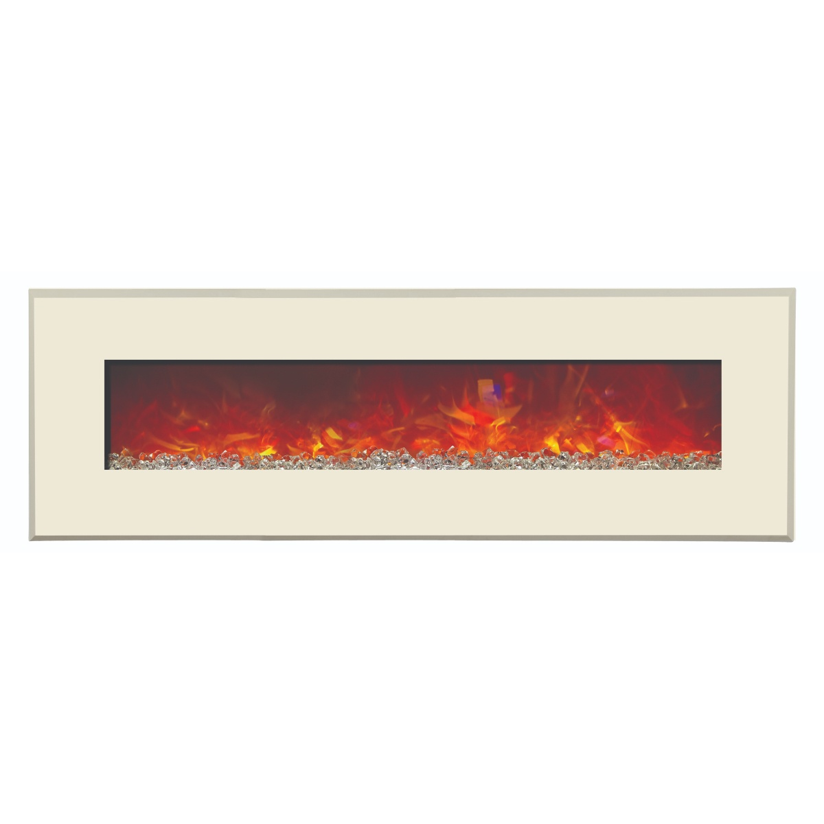 amantii contemporary electric fireplace with white glass surround final sale no returns