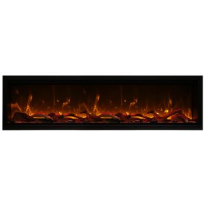 amantii SYM-100-XT extra tall electric fireplace insert with logs and orange flames