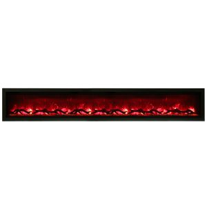 amantii SYM-100 contemporary linear electric fireplace with logs and red flames