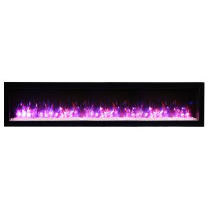 amantii SYM-74-B contemporary electric fireplace insert with glass embers and purple flames
