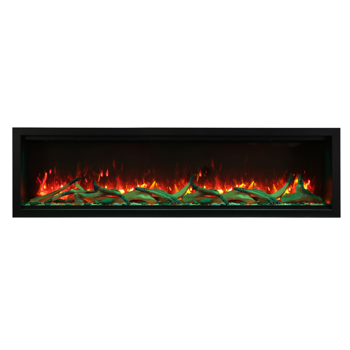 amantii SYM-74-XT extra tall contemporary electric fireplace wall insert with driftwood logs