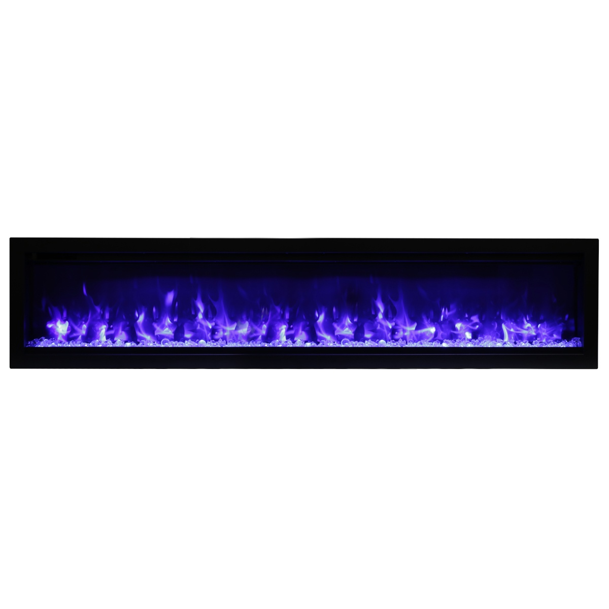 amantii SYM 74 contemporary electric fireplace wall insert with glass embers and blue flames