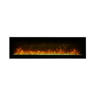 amantii SYM-88-B contemporary electric fireplace wall insert with glass embers and orange flames