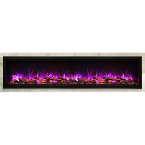 amantii SYM-88-XT extra tall contemporary electric fireplace wall insert with logs and purple flames