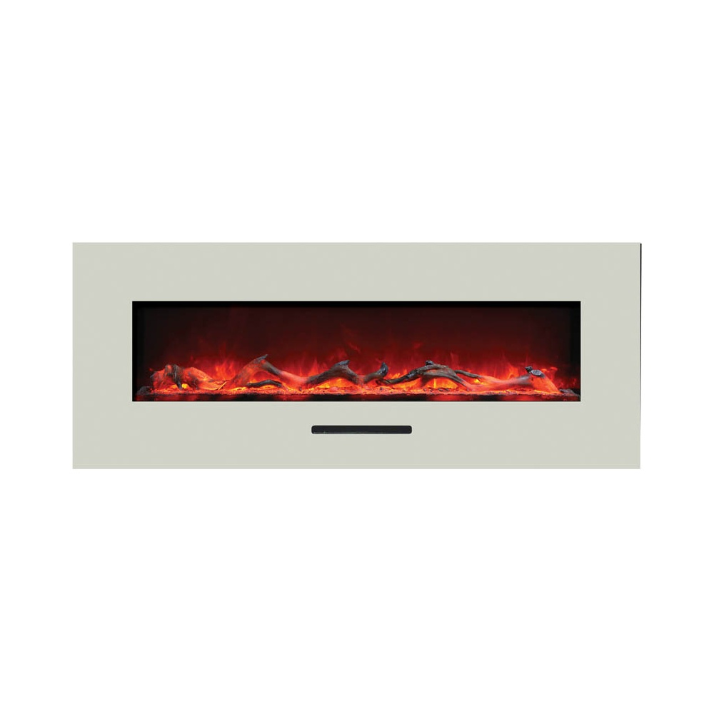 amantii 48 inch electric fireplace with white glass trim