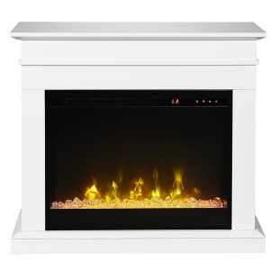 dimplex C3 portable white fireplace mantel with 23 inch electric fireplace insert