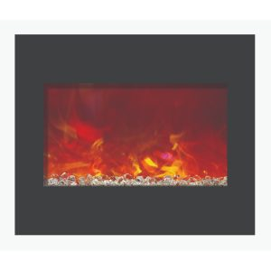amantii 30 inch zero clearance electric fireplace insert with glass embers perfect for new construction and remodels