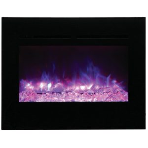 amantii 30 inch zero clearance flush mount contemporary electric fireplace insert with large glass embers and purple flame