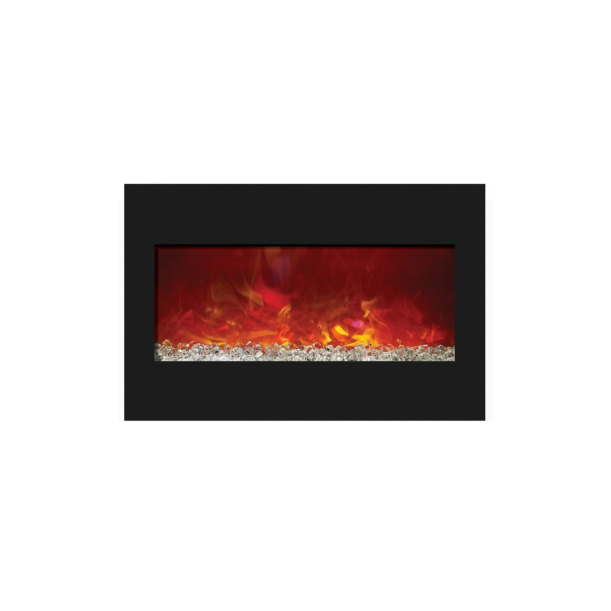 amantii zero clearance 33 inch electric fireplace insert with glass embers and orange flames