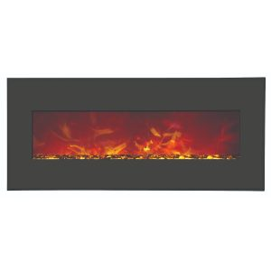 amantii 43 inches wide contemporary electric fireplace wall insert or wall mount with matte black steel surround and sable glass embers