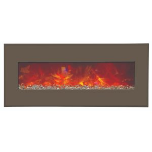 amantii 43 inches wide contemporary electric fireplace wall insert or wall mount with auburn brown steel surround and glass embers